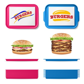 Tray salvers with realistic fast food