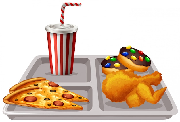 Tray with food and drink