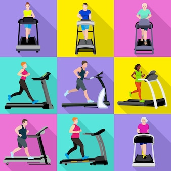 Treadmill characters men and women set. flat set of treadmill vector