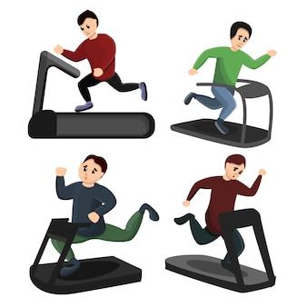 Treadmill icons set, cartoon style