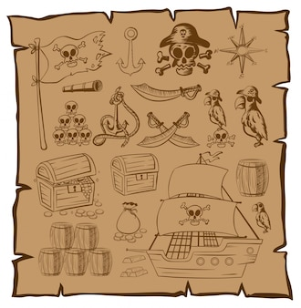 Treassure map with pirate symbols