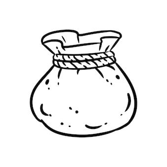 보물 가방 낙서 이미지입니다. 귀여운 만화 파우치 로고. 미디어 하이라이트 그래픽 기호