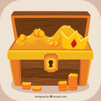 Treasure box background with gold and diamonds