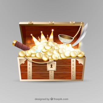Treasure box in realistic style