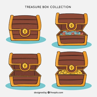 Treasure boxes collection in hand drawn style