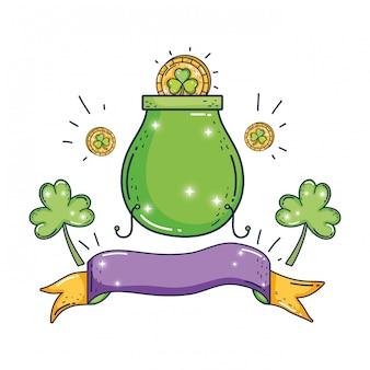 クローバーコイン聖パトリックの日と宝石の大釜