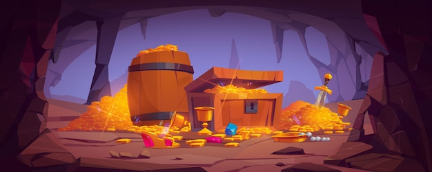 Treasure cave with golden coins in chest and wooden barrel, crystal gems, crown, sword in pile of gold and goblet with precious rocks, ancient fantasy magic tomb or mine, cartoon illustration