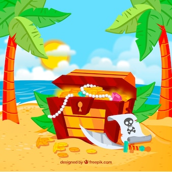 Treasure chest background on an island