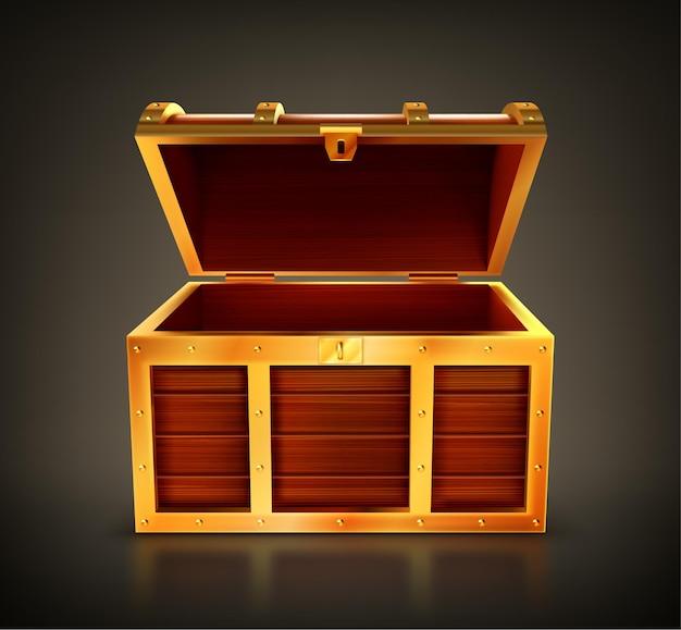 보물 상자, 빈 나무 상자, 황금색 디테일과 열쇠 구멍이있는 열린 상자.