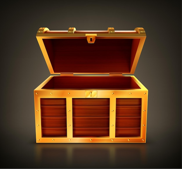 Treasure chest, empty wooden box, open casket with golden details and keyhole.