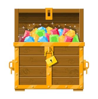 다양한 다이아몬드로 가득한 보물 상자.
