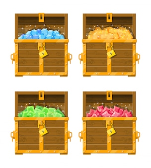 Treasure chest full of various diamonds.