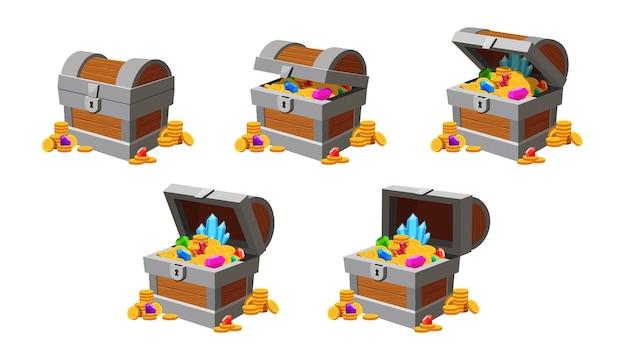 宝箱オープニングアニメーション。金貨、ダイヤモンド、クリスタルが入ったゲーム貯金箱。漫画は、海賊の胸のベクトルを閉じて開いています。イラストチェストアニメーション昔ながらのアンティークの宝物