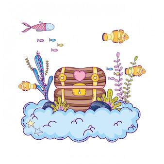 Treasure chest undersea scene