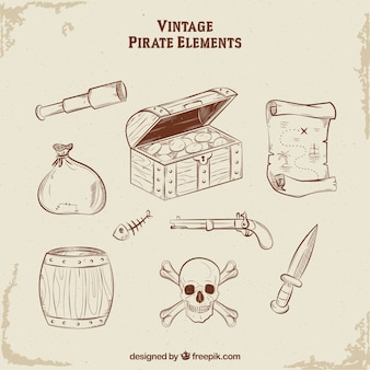 Treasure chest with hand drawn pirate elements