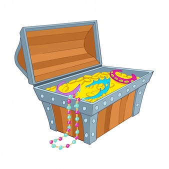 Treasure chest with jewelry and gold