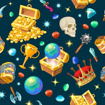 Treasure chests isometric seamless pattern