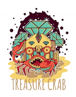 Treasure crab diamond vector illustration