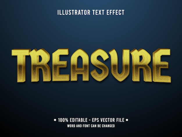 Treasure editable text effect modern style with golden color