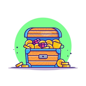Treasure gold cartoon  icon illustration. finance gold icon concept