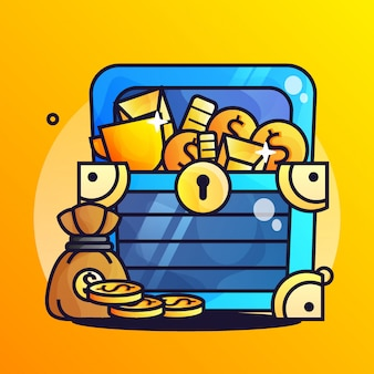 Treasure gold with coin gradient illustration