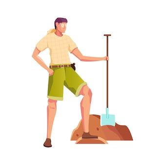 Composizione piatta caccia al tesoro con personaggio maschile di archeologo con pala
