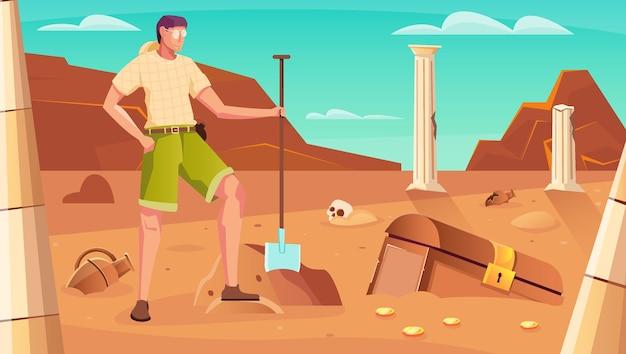 Treasure hunt  with chest digging symbols flat