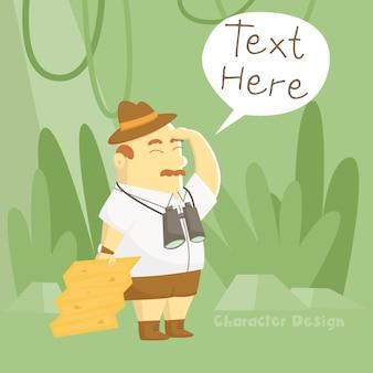 Treasure hunter cartoon character
