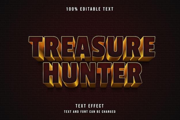 Редактируемый текстовый эффект охотника за сокровищами на темном фоне