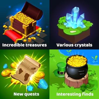Открытия охотников за сокровищами красочные изометрические мультяшные игровые изображения с пиратским сундуком древние свитки монеты кристаллы