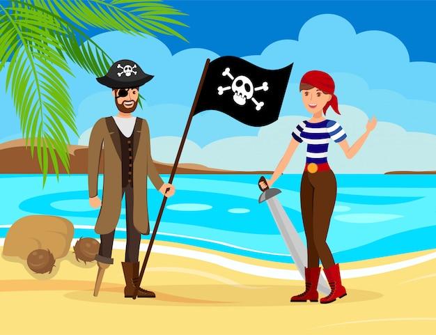 Treasure hunters on sea shore vector illustration