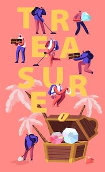 トレジャーハンティングのコンセプト。熱帯の島で金と宝石で隠された胸を探している金属探知機を持つ小さな男性の女性キャラクター。漫画フラットイラスト