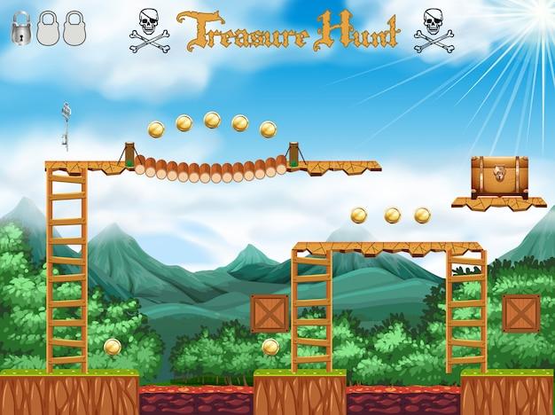 A treasure hunting game pirate theme