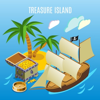 Treasure island isometric game