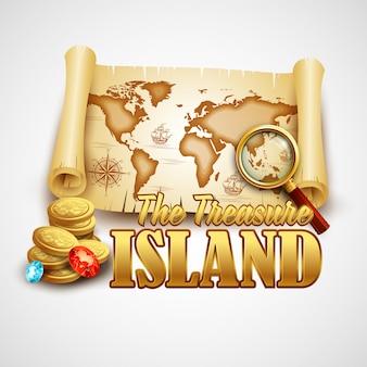 Иллюстрация карты острова сокровищ