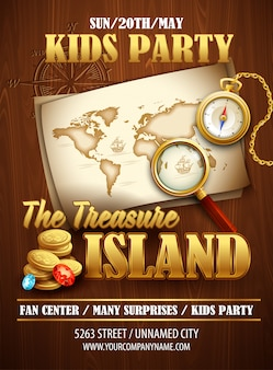 Treasure island party poster  template