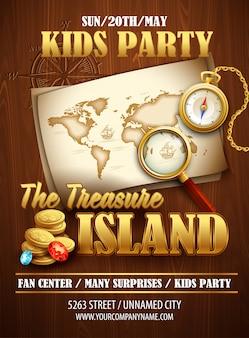 Шаблон плаката вечеринки остров сокровищ