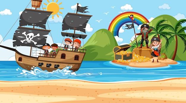 Сцена острова сокровищ в дневное время с детьми пиратов на корабле