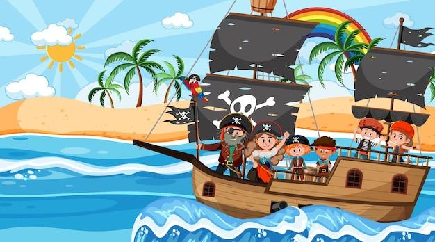 배에 해적 아이 들과 함께 낮에 보물 섬 장면