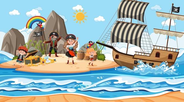 해적 아이 들과 함께 낮에 보물 섬 장면