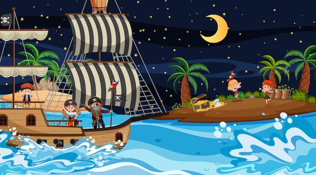 船に乗っている海賊の子供たちと夜のトレジャーアイランドシーン