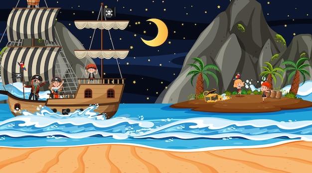 Сцена острова сокровищ ночью с детьми пиратов на корабле