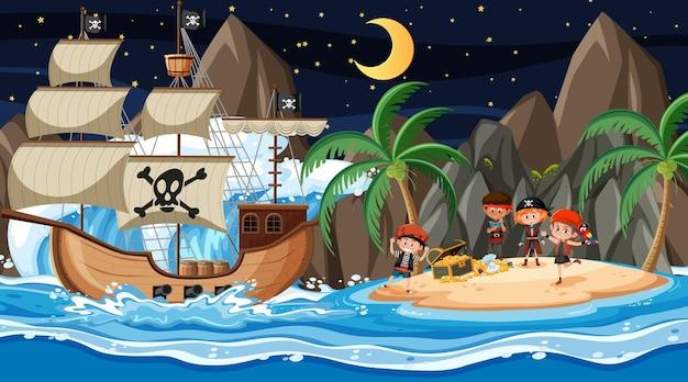 배에 해적 아이 들과 함께 밤에 보물 섬 장면