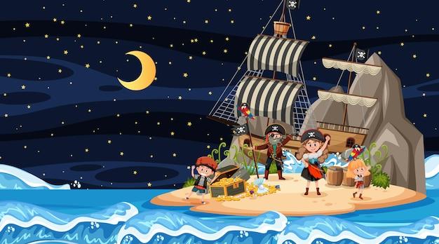 Ночная сцена острова сокровищ с детьми-пиратами