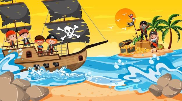 배에 해적 아이 들과 함께 일몰 시간에 보물 섬 장면