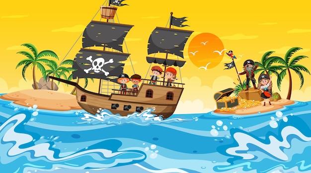 Остров сокровищ во время заката с детьми пиратов на корабле