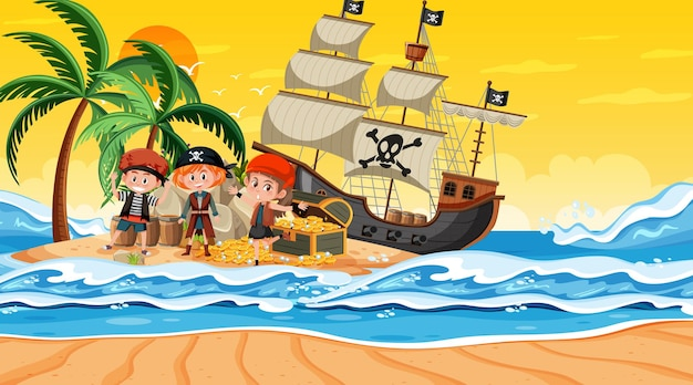 해적 아이들과 함께 일몰 시간에 보물섬 장면