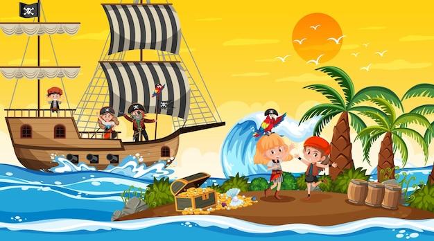 Остров сокровищ на закате с детьми-пиратами