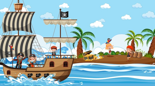 Treasure island scene at daytime with pirate kids