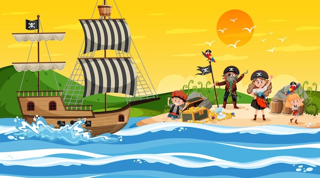 Treasure island scene at sunset time with pirate kids